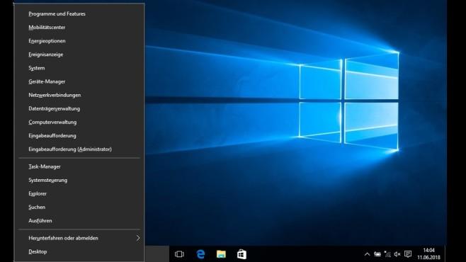 Windows 10: Größeres Windows-X-Startmenü – praktisch Gut: Die Einträge sind größer. Schlecht: veränderte Ziele, worauf die Einträge verweisen – die Energieoptionen etwa leiten mittlerweile in die Einstellungen-App (statt vormals einen Systemsteuerung-Unterbereich).©COMPUTER BILD