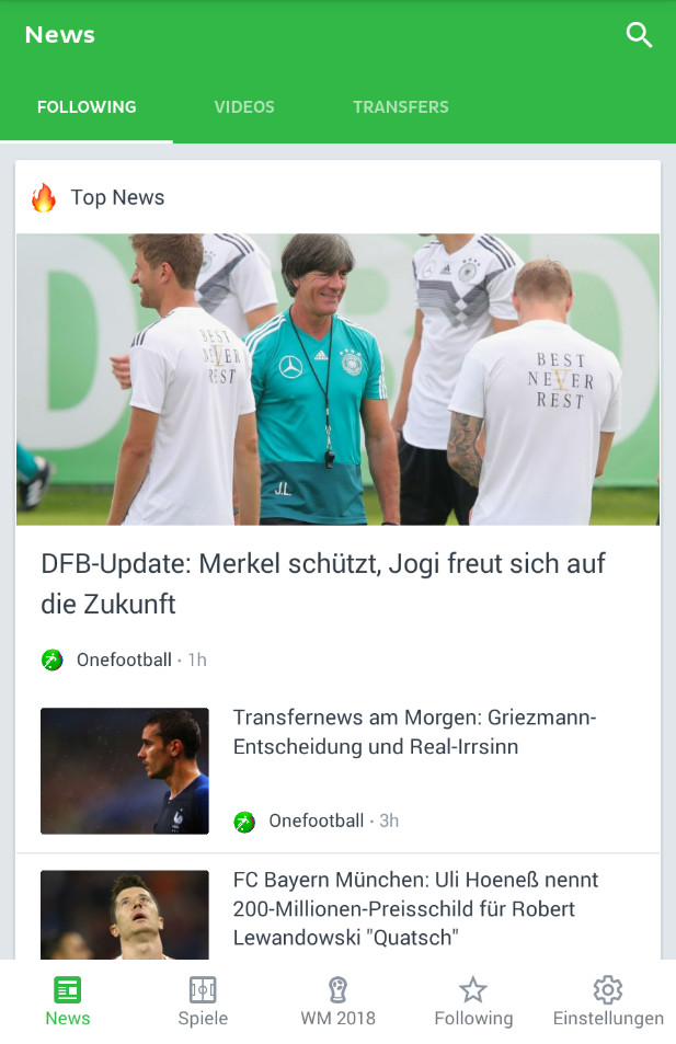 Screenshot 1 - Onefootball (App für iPhone & iPad)