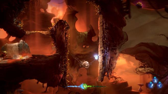 Ori and the Will of the Wisps: Hüpfspiel-Perfektion auf Xbox One Der Sand spielt eine entscheidende Rolle in diesem Level: Er setzt sich beispielsweise in Gestrüpp fest und macht es zur Plattform. Allerdings rieselt er wieder heraus, wenn Ori die Plattform berührt.©Microsoft