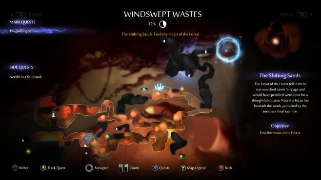 Ori and the Will of the Wisps: Hüpfspiel-Perfektion auf Xbox One Sind genug Geistlichter eingesammelt, kann dafür eine Karte gekauft werden, die einen hilfreichen Überblick über das Level gibt.©Microsoft