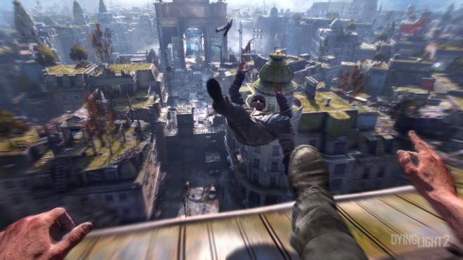 """Dying Light 2: Fortsetzung zum Zombie-Hit kommt! In """"Dying Light 2"""" erweist sich der Held als echter Klettermaxe und springt, wie in """"Mirror's Edge"""", geschmeidig über Hausdächer.©Techland"""
