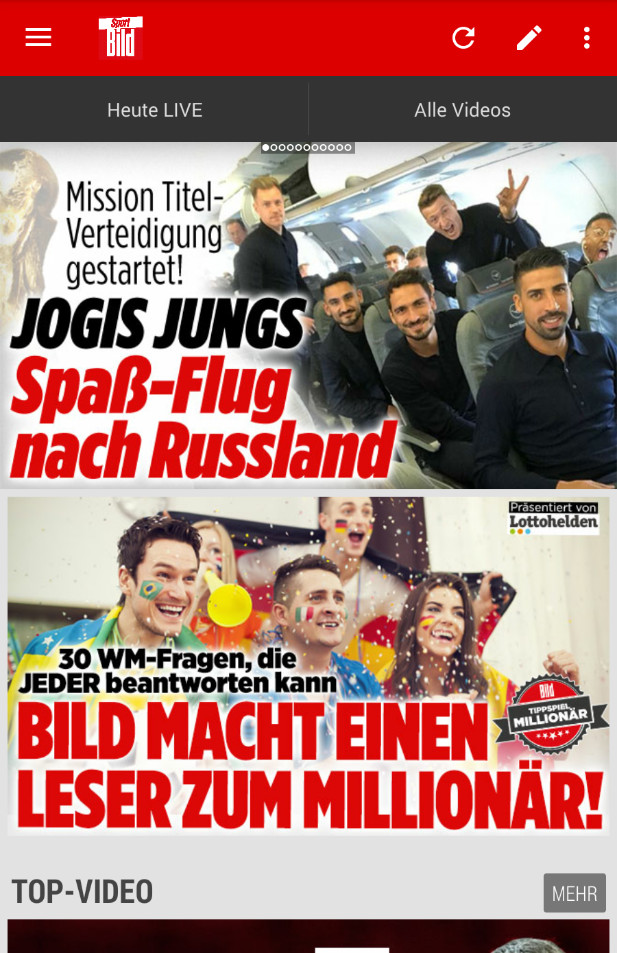 Screenshot 1 - SPORT BILD (Android-App)