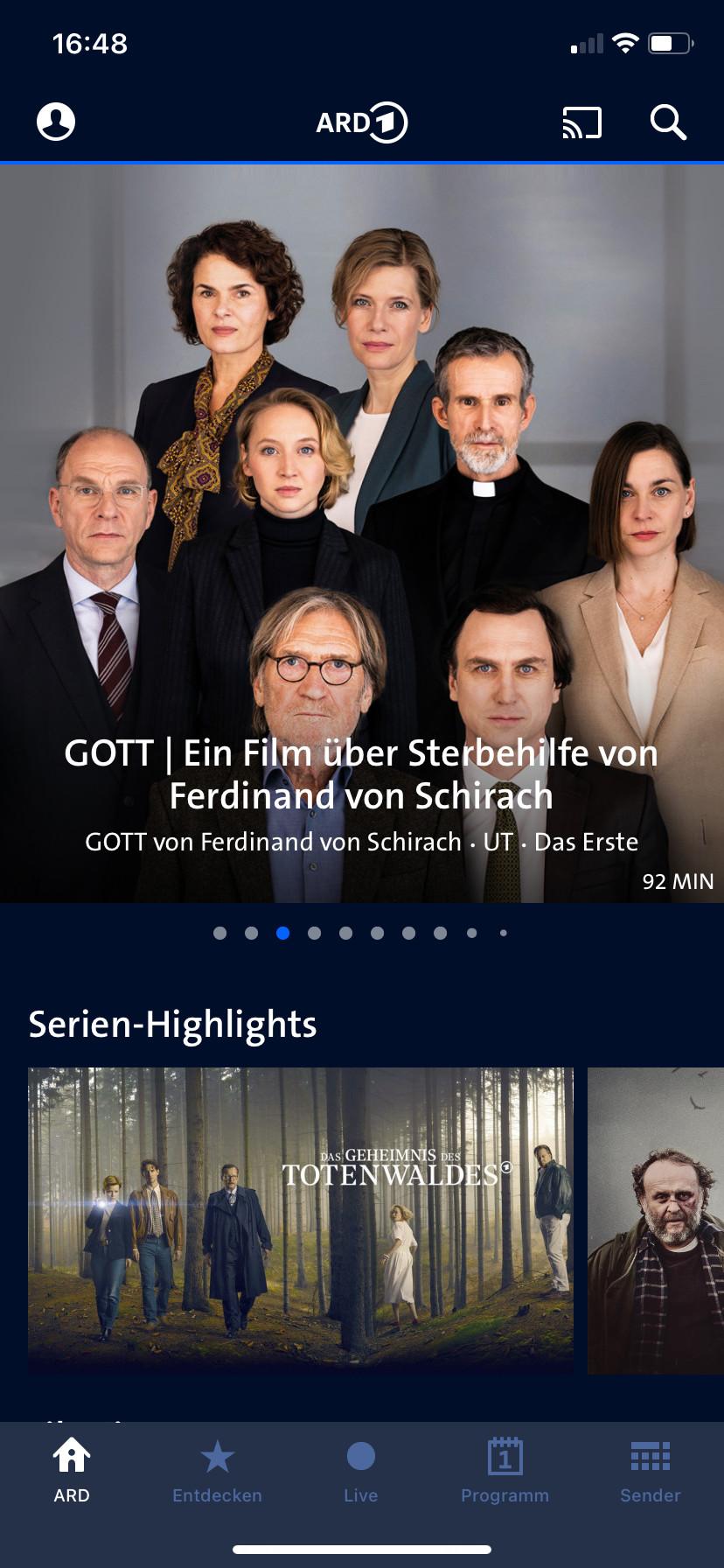 Screenshot 1 - ARD Mediathek (App für iPhone & iPad)