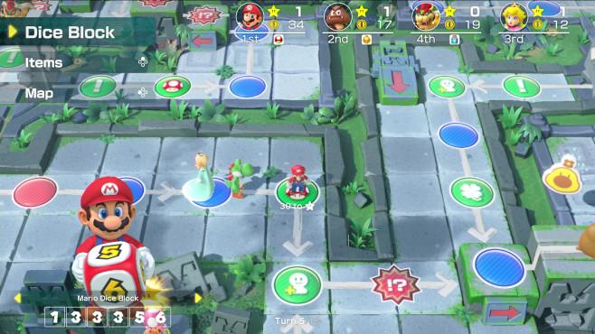 Super Mario Party: Mario ärgere dich nicht! Auf dem Spielbrett gibt es eine Vielzahl von Bonus-, Bestrafungs- und Ereignisfeldern.©Nintendo