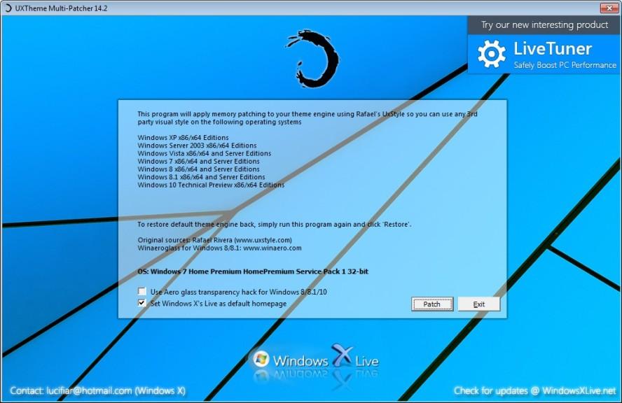 Screenshot 1 - UxTheme Multi-Patcher