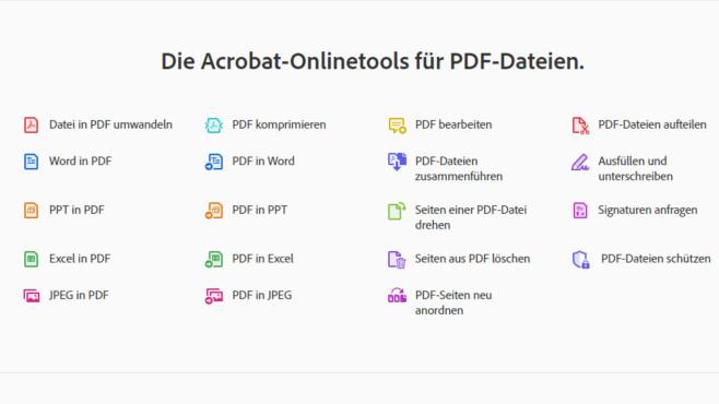 Adobe Acrobat Web: Dateien in PDF wandeln und mehr ©COMPUTER BILD