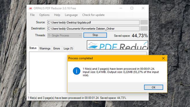 PDF Reducer Free: Dokumente verkleinern ©COMPUTER BILD