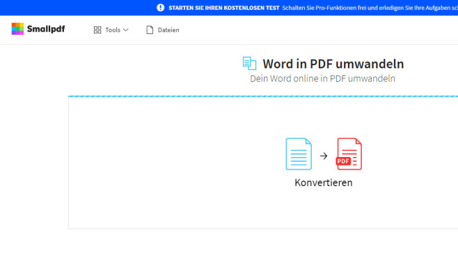Word in PDF umwandeln (SmallPDF) © COMPUTER BILD