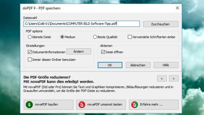 doPDF Free PDF Converter: Dokumente in wählbarer Qualität erstellen ©COMPUTER BILD