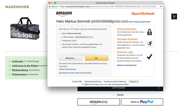 Amazon Pay: Amazon.com Consent©COMPUTER BILD