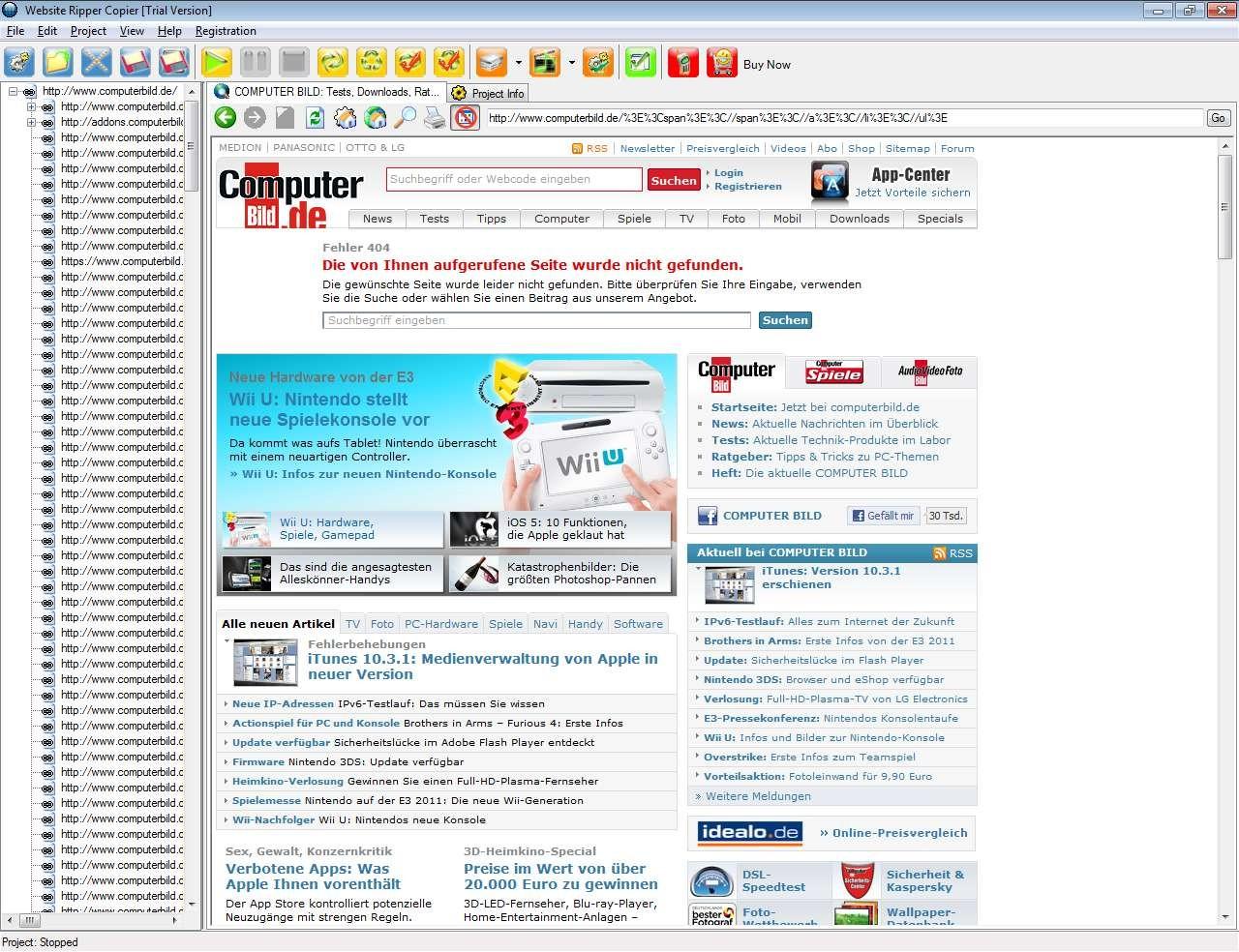Screenshot 1 - Website Ripper Copier