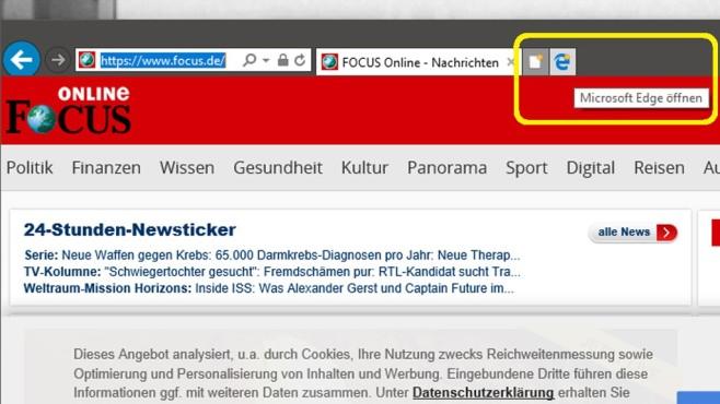 Windows 10: Internet Explorer ruft Edge auf – und umgekehrt©COMPUTER BILD
