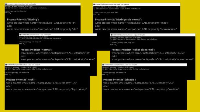 WMIC-Programmfenster zeigen Prozessprioritäten an©COMPUTER BILD