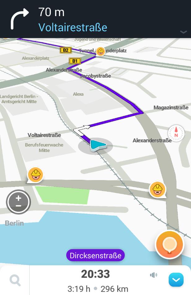 Screenshot 1 - Waze: GPS, Echtzeit-Navigation, Karten & Verkehr (App für iPhone & iPad)