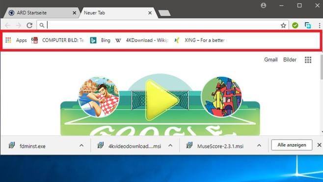 Google Chrome: Lesezeichen-Leiste ausblenden – funktioniert nicht! ... immer noch, aber der Browser hält sich nicht daran.©COMPUTER BILD