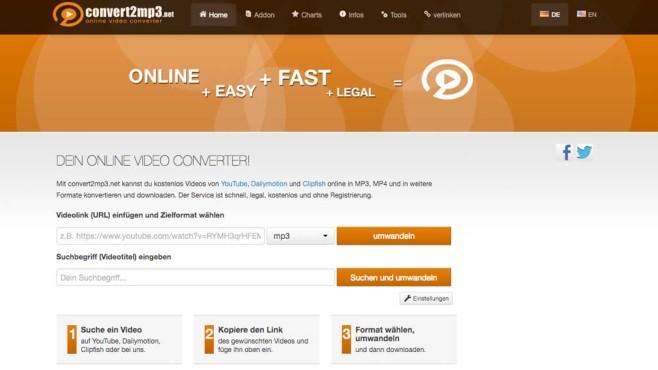 Screenshot von convert2mp3.net©convert2mp3.net