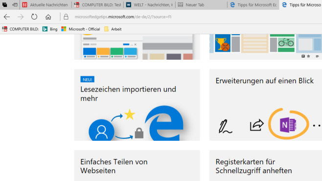 Microsoft Edge: Die besten Tastenkombinationen Viele Registerkarten sind kein Problem.©COMPUTER BILD