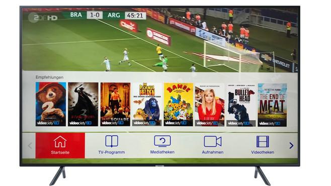 TV-Sendungen zurückspulen und neustarten: Diveo kombiniert Sat-TV und App Diveo erfordert einen speziellen Sat-Receiver oder aktuelle Smart-TVs von LG oder Samsung. Außer dem laufenden TV-Programm sind auch Filme aus einer Videothek verfügbar.©Samsung, COMPUTER BILD