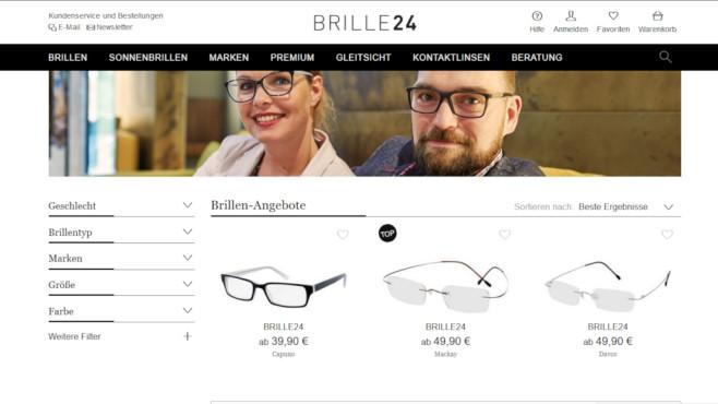 Brille24: Markenbrillen jetzt 15 Prozent günstiger Sparen mit Gutschein: Bei Brille24 erhalten Sie jetzt einen 15 Prozent Rabatt auf alle Markenbrillen.©Screenshot www.brille24.de