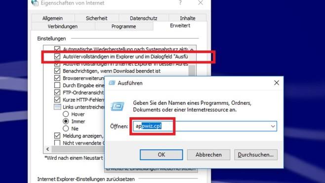 Autovervollständigung für Explorer und Ausführen-Dialog ©COMPUTER BILD