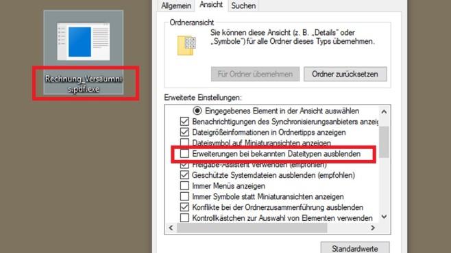 Bekannte Dateiendungen anzeigen ©COMPUTER BILD