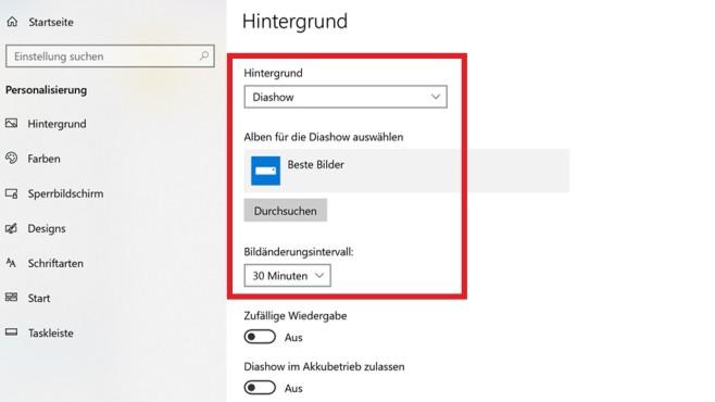Desktop-Hintergrund automatisch wechseln ©COMPUTER BILD
