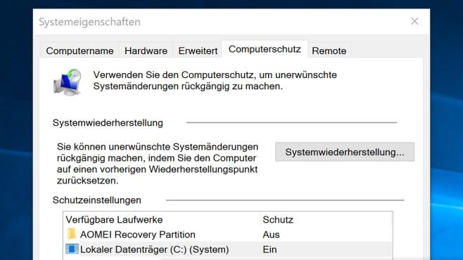 Systemwiederherstellung einschalten ©COMPUTER BILD