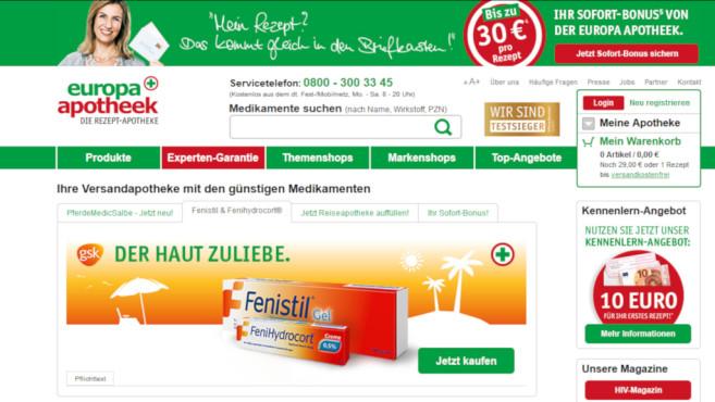15 Euro Gutschein bei der Europa Apotheek©Screenshot www.europa-apotheek.com