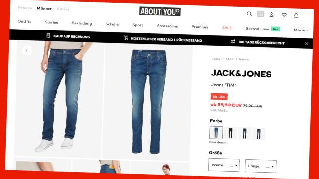Jeans Sale bei About You©PR/Screenshot www.aboutyou.de