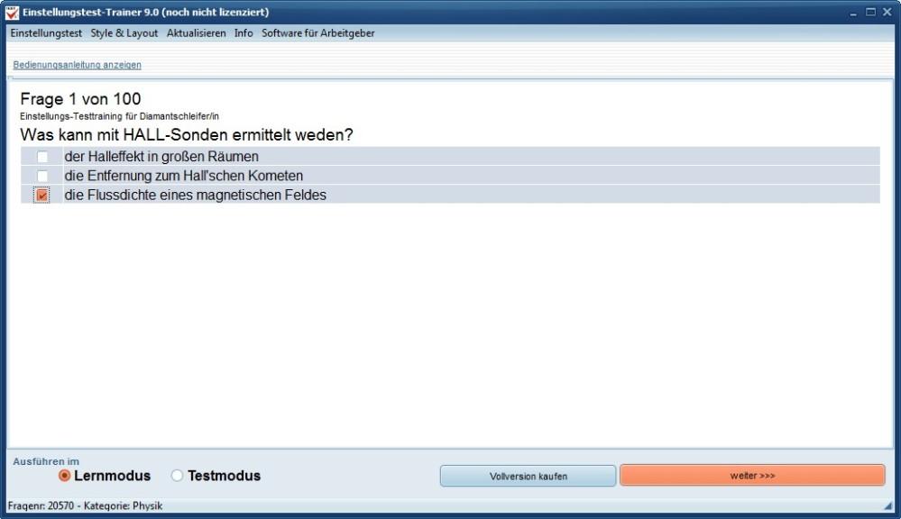 Screenshot 1 - Einstellungstest-Trainer
