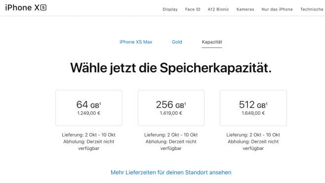 iPhone kaufen: Hier können Sie das iPhone XS und XS Max jetzt kaufen Bei Apple gibt es bei einer heutigen Bestellung erst Anfang Oktober wieder neue iPhones (Stand: 21. September 2018).©Apple