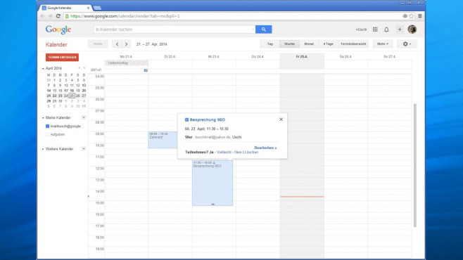 Google Kalender (Google Calendar) ©COMPUTER BILD, Google
