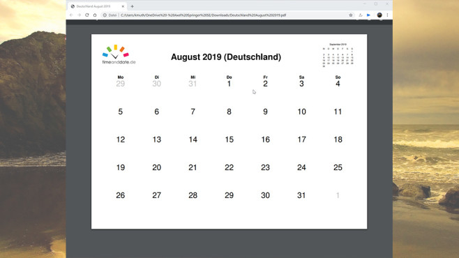Kalender erstellen und ausdrucken ©COMPUTER BILD, Time and Date