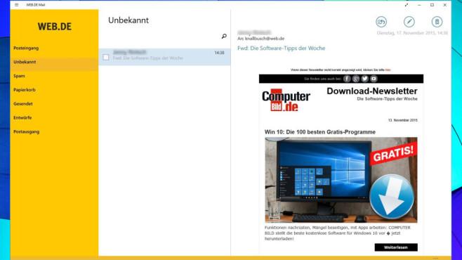 Web.de Mail (App für Windows 10 & 8) ©COMPUTER BILD, 1&1 Mail & Media