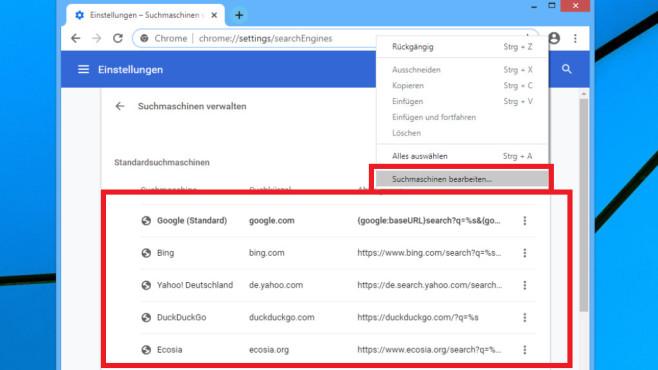 Es stehen mehrere Websuchen bereit. Im Unterschied zu Firefox ist Yahoo mit von der Partie.©COMPUTER BILD