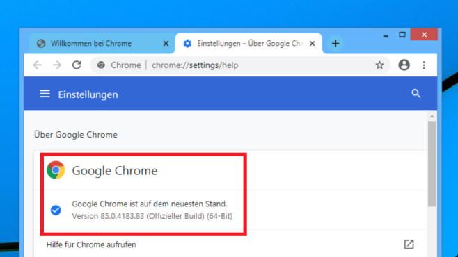 Google Chrome aktualisiert sich in der Regel komplikationsfrei und automatisch.©COMPUTER BILD