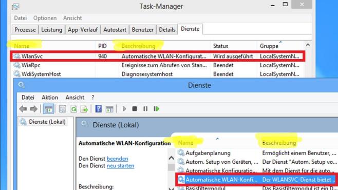 Windows 7/8/10: Dienst-Namen in zwei Bordmitteln unterschiedlich©COMPUTER BILD