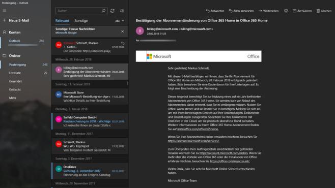 Windows 10 Mail App ©COMPUTER BILD