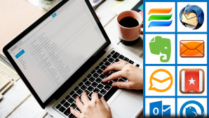 Outlook-Alternative auf einem Laptop © COMPUTER BILD, istock/Rawpixel, Astonsoft, Mozilla, Evernote Corporation, IncrediMail, eM Client, 6 Wunderkinder, Microsoft, Livit