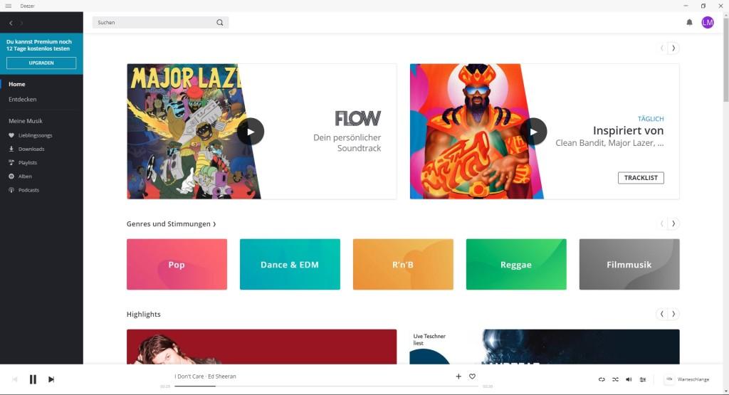 Screenshot 1 - Deezer für Windows (Desktop-App)