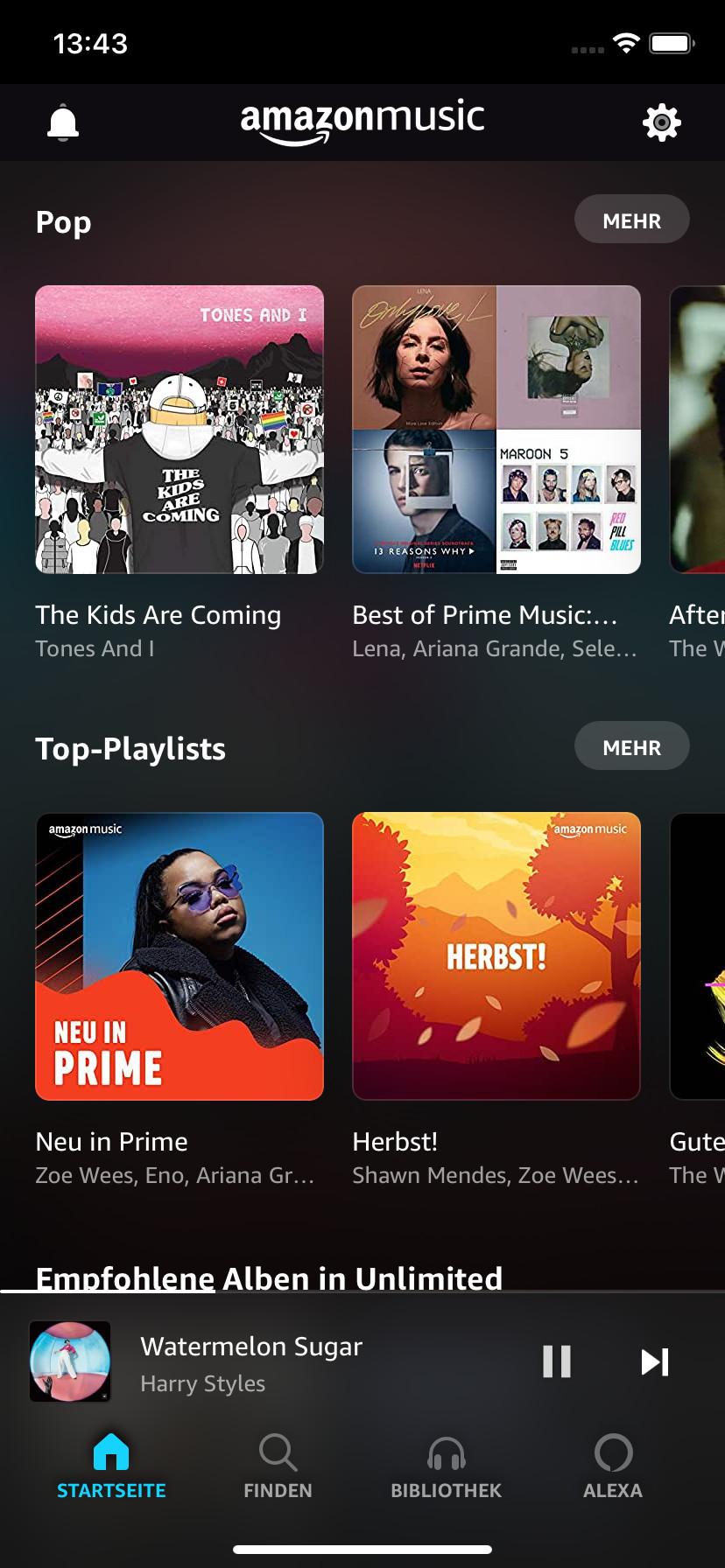 Screenshot 1 - Amazon Music (App für iPhone & iPad)