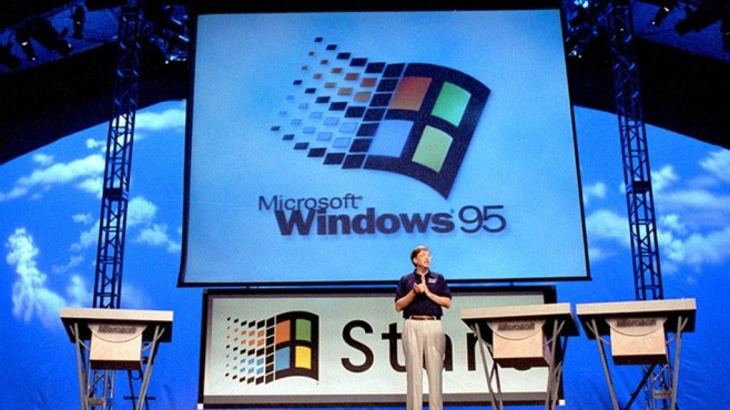 Bill Gates stellt Windows 95 vor © dpa-Bildfunk