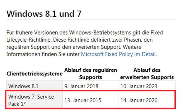 windows 7 support wie lange noch