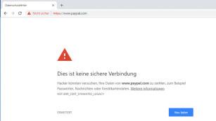 Chrome warnt vor www.paypal.com©COMPUTER BILD