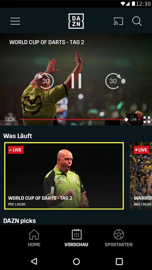 Screenshot 1 - DAZN: Sport & Fußball Live Stream (App für iPhone und iPad)