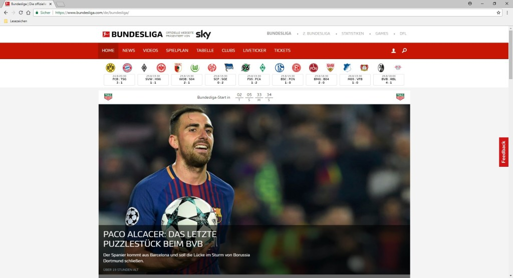 Screenshot 1 - Bundesliga.de