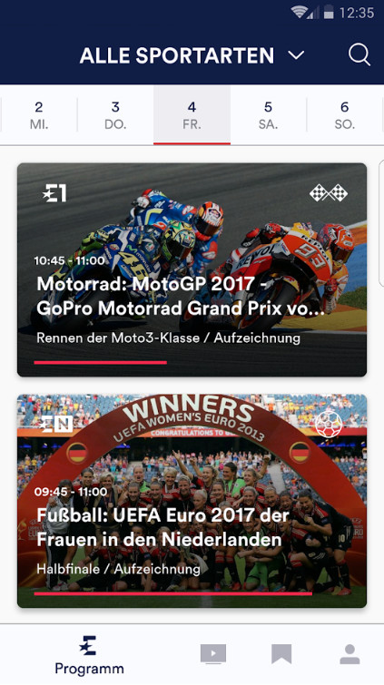 Screenshot 1 - Eurosport Player (Android-App)