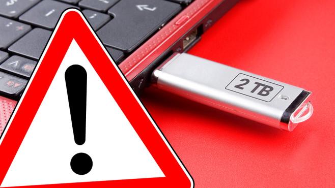 Vorsicht: Fake-USB-Stick©istock/numbeos, magele-picture - Fotolia.com