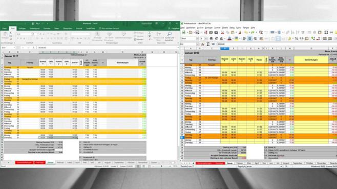 Arbeitszeiterfassung für Excel, OpenOffice & LibreOffice ©COMPUTER BILD, Steffen Hanske