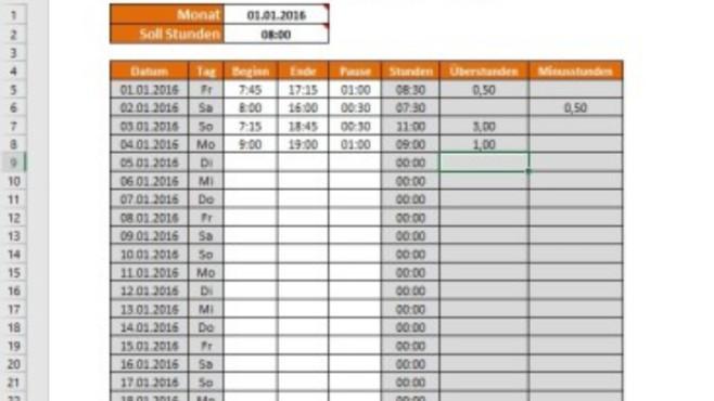 Arbeitszeitnachweis & Überstundenrechner (Excel-Vorlage) ©COMPUTER BILD